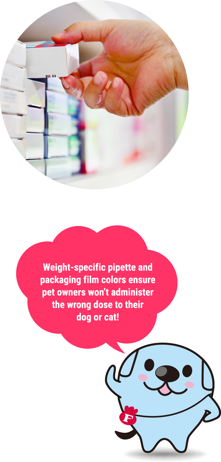 Weight-specific pipette and packaging film colors ensure pet owners won't administer the wrong dose to their dog or cat!
